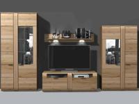 IDEAL-Möbel Wohnwand Arras Kombination 13 Anbauwand 4-tlg. für Wohnzimmer Front in Alteiche Lamelle massiv geölt Korpus aussen Alteiche furniert