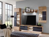IDEAL-Möbel Wohnwand Alfonso Kombination 17 in Lack-Optik schwarz matt mit Hängeschrank TV-Element Vitrine und Wandbord 4-tlg. Anbauwand für Wohnzimmer oder Ferienwohnung mit oder ohne Beleuchtung wählbar