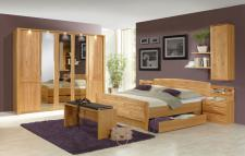 Wiemann Lausanne Schlafzimmer Doppelbett mit Bettkasten, Drehtürenschrank, 2 Nachtschränke in Erle oder Birke teilmassiv wählbar komplettes Schlafzimmer