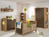 Paidi Henrik Babyzimmer 3 teilig Kleiderschrank Wickelkommode Babybett in Eiche-Antik und Braun