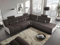 New Look Ecksofa mit runden Kopfstützen Elements, bestehend aus 2-Sitzer Sofa mit 2 Kopfstützenhülsen und angedeuteter Armlehne + Ecke mit 2 Kopfstützenhülsen + Ottomane mit einer Kopfstützenhülse+3 Kopfstützen