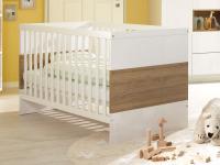 Wellemöbel Malie Babybett Kinderbett in Weiß mit farblicher Absetzung