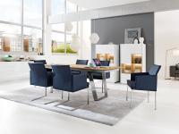 S-KULTUR by Wöstmann FINELINE Tischsystem Esstisch ausziehbar Klappeinlage Variante A, Metallkufe Tisch Linoleum Keramik Massiv wählbar