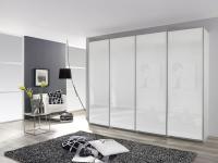 Rauch Packs Syncrono A Panoramaschrank mit kompl. Front Glasauflage Weißglas, Basaltglas oder Schwarzglas Schwebetürenschrank Korpus Dekor und Größe wählbar Kleiderschrank