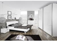 Rauch Select Tira Schlafzimmer mit Schwebetürenschrank mit Bett in Korpus alpinweiß Front Hochglanz weiß