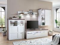 IDEAL-Möbel Wohnwand Bana Kombination 50 mit TV-Element Highboard Hängeschrank und Wandbord 4-tlg. Anbauwand für Wohnzimmer oder Ferienwohnung mit oder ohne Beleuchtung wählbar