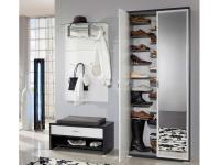 Wittenbreder Woody plus komplette Garderobe 5-teilig für Flur, Lack matt mit Bank, Paneelen und Spiegel Schuhschrank