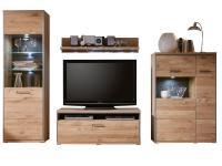 MCA Furniture Espero Wohnwand Kombination in Front Asteiche Bianco massiv Korpus Eiche Bianco furniert