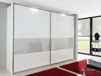 Rauch Dialog X-tend line Schwebetürenschrank Teilfront Farbglas wählbar und Effektglas wählbar, Größe und Korpus wählbar