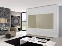 Rauch Dialog Schwebetürenschrank X-tend frame Frontmitte Farbglas Sahara - Größe und Korpus wählbar