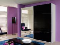 Rauch Quadra Kleiderschrank Möbel Schwebetürenschrank Schrank 4x Spiegel 4x Glas Dekor wählbar für Schlafzimmer