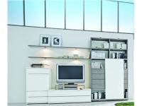 Loddenkemper Kito 9820 Vorschlagskombination Wohnwand mit Sideboard Unterteil Wandbord und Regalelement mit Schubkästen und Schiebetür Lack weiß mit Absetzung Lack soft grau