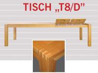 Dkk Klose Kollektion Große Klappe T8/D Vierfußtisch teilmassiv ausziehbar mit Frontslide für Speisezimmer Ausführung wählbar