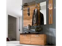 Wittenbreder Massello 630 Spiegel für Flur mit Garderoben Paneelen 710 / 730 und Garderoben Bank 545 in Kernbuche massiv