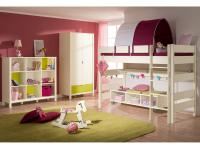 Paidi Matilda und Biancomo Kinderzimmer 4 teilig aus Spielbett mit Zelt, Kleiderschrank, Regal und Lowboard Absetzung wählbar