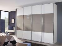 Rauch Dialog Saligo - moderner Kleiderschrank, Panoramaschrank, Schwebetürenschrank, Größe, Korpus / Teilfront und Dekor, Glasauflage wählbar