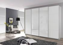 Rauch Packs Syncrono Panoramaschrank mit Weißglastüren mittig und Dekor-Druck Schwebetürenschrank Dekor und Größe wählbar Kleiderschrank
