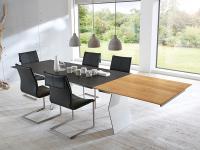 S-KULTUR by Wöstmann FINELINE Tischsystem Esstisch ausziehbar Klappeinlage Variante B, 2 schräg gestellte Metallwangen Tisch Linoleum Keramik Massiv