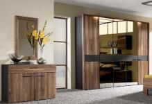 Thielemeyer Mali Schlafzimmer Kommode, 5-türiger Kleiderschrank 3 Türen Spiegel bronziert