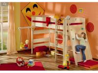 Paidi Fleximo Spielbett in verschiedenen Höhen Kinderbett mit Griffleiter und Kletterwand in Birke hell massiv