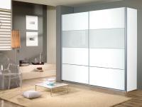 Kleiderschrank Quadra Rauch Möbel Schwebetürenschrank Schrank 2x Glas Dekor wählbar für Schlafzimmer