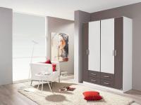 Rauch Packs Kiel - Drehtürenschrank wahlweise mit Spiegelauflage, inklusive Schubkästen, Front / Korpus / Absetzungen Dekor wählbar für Ihr Schlafzimmer