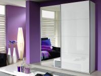Rauch Quadra Schwebetürenschrank frei planbar Teil Front Spiegel und Teil Front Hochglanz, Korpusfarbe Frontfarbe und Größe wählbar Kleiderschrank für Schlafzimmer