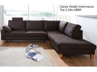Candy Ecksofa Intermezzo Sofa 2, 5 Sitzer + Umbauecke Polstermöbel für Wohnzimmer in Stoff -oder Lederbezug wählbar