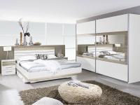 Rauch Packs Tarragona Schlafzimmer alpinweiß bestehend aus Bettgestell, Nachttische und Schwebetürenschrank Absetzung wählbar