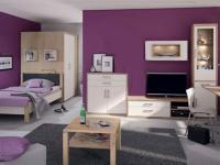 Priess Luna Jugendzimmer 3-teilig Bett begehbarer Kleiderschrank 2-türig Kommode in Livorno Buche und Lichtweiß weitere Beimöbel optional wählbar