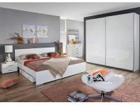 Rauch Packs Lorca Schlafzimmer, Schwebetürenschrank, Bettanlage mit Nachttischen und wahlweise mit Bettkasten, Front in Hochglanz weiß, Korpus in alpinweiß