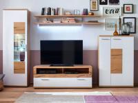 MCA Nizza Wohnwand W01 für Wohnzimmer MCA Furniture NIZ21W01 Kombination in Front weiß matt lackiert Absetzung und Korpus Crackeiche furniert lackiert Anbauwand für Wohnzimmer mit Beleuchtung und Couchtisch wählbar