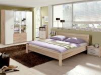 Priess Achat, Schlafzimmer 3-teilig, Futonbett, Nachtkommode, Kleiderschrank in Livorno Buche und Lichtweiß