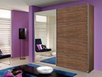 Rauch Quadra Kleiderschrank Teilfront Spiegel und Teilfront Dekor Schwebetürenschrank Korpus Dekor wählbar für Schlafzimmer
