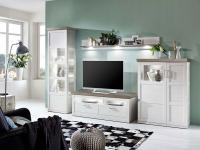 IDEAL-Möbel Wohnwand Bana Kombination 28 mit Vitrine TV-Element Highboard und Wandbord 4-tlg. Anbauwand für Wohnzimmer oder Ferienwohnung mit oder ohne Beleuchtung wählbar