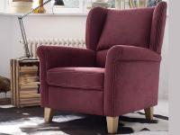 Carina Malte Ohrenbackensessel 9048 für Wohnzimmer Sessel Bezug Stoff und Leder wählbar mit oder ohne Hocker 9050