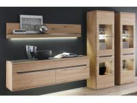 Decker Möbelwerke Wohnwand Ameno massiv 4-teilig Kombination Vorschlag 18121 mit Schiefer für Wohnzimmer Ausführung Front / Korpus und Beleuchtung wählbar