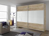 Rauch Quadra Schwebetürenschrank Kleiderschrank für Schlafzimmer Farbe Korpus / Teilfront, Farbe Front Hochglanz Absetzung und Größe wählbar