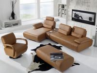 K+W Miami 7487 Ecksofa mit Sessel und Hocker Sofa Couch Wohnlandschaft für Wohnzimmer, Leder oder Stoff wählbar