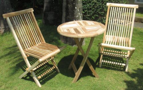 Teak Balkonset 3tlg. Gartenset Tisch rund Gartentisch Terassentisch massiv