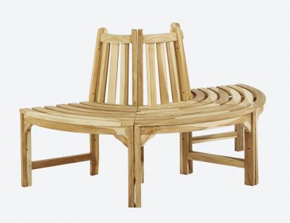 Teakholz 1/2 Baumbank Bank massiv Teak Holz ca. 150 cm natur