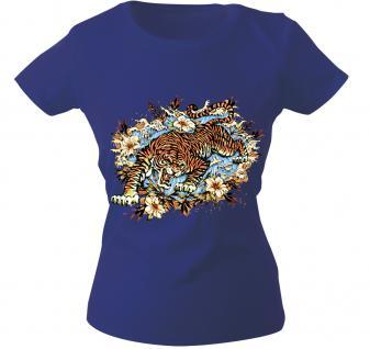 Girly-Shirt mit Print - Tiger - 10973 - versch. farben zur Wahl - Gr. S-XXL Royal / L