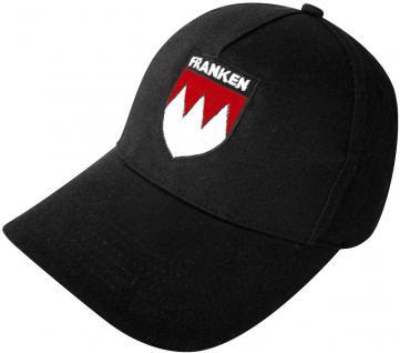Schirm-Cap mit Stick - Franken Wappen - 68071 schwarz o. rot - Baumwollcap Baseballcap Hut Schirmmütze Cappy