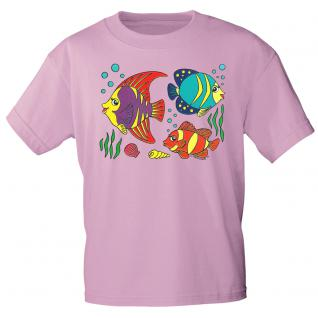 Kinder Marken-T-Shirt mit Motivdruck in 12 Farben Fische K12779 rosa / 122/128