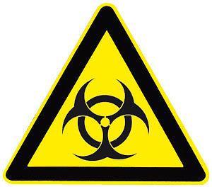 Warnschild - Biogefährdung - 308812 - Schenkellänge 22cm - Kunststoff