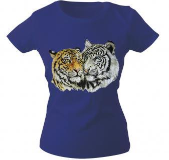 Girly-Shirt mit Print - Tiger - 10848 - versch. farben zur Wahl - blau / XS