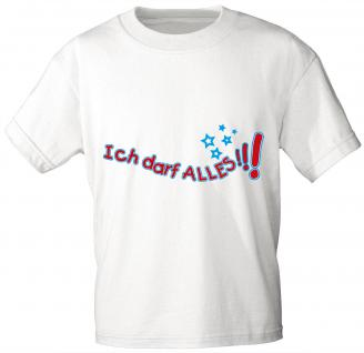 Kinder T-Shirt mit Aufdruck - Ich darf alles - 06981 - weiß - Gr. 92/98