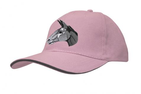 Cap mit gr. Esel - Stick - Eselskopf - 69251-3 rosa - Baumwollcap Baseballcap Hut Cappy Schirmmütze