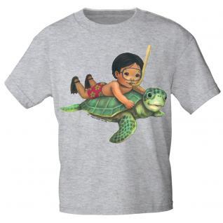 Kinder Marken-T-Shirt mit Motivdruck Schildkröte K12777 98/104 / grau