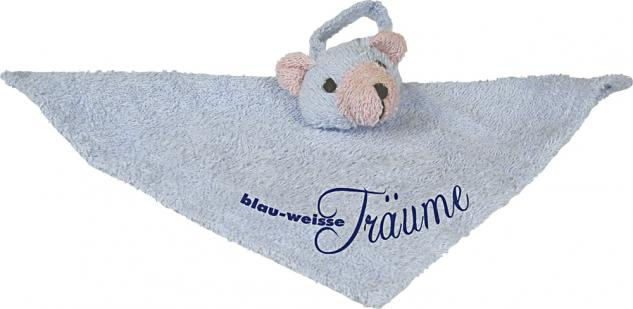 Baby und Kinder- Schmusetuch- Schnuffeltuch mit Einstickung - blau-weiße Träume - 12251